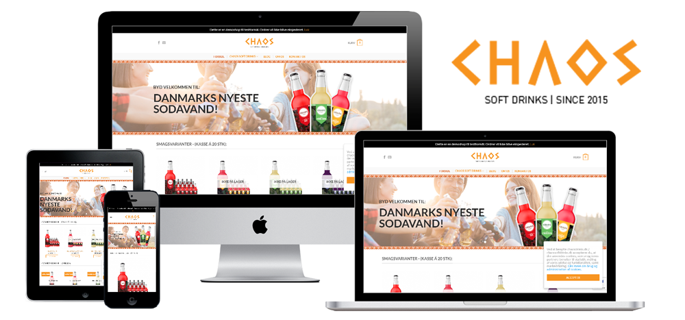 Chaos soft drinks - Website + logo